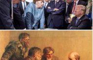 """Срещата на Г-7 в една снимка.. Учудващо много прилича на """"Посещение при Ленин"""" от 1950"""
