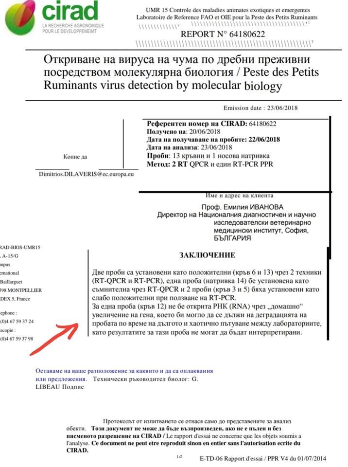 Данни за типа вирусен щам установен в пробите няма, както и въобще информация, че са поискани и направени опити за неговото установяване