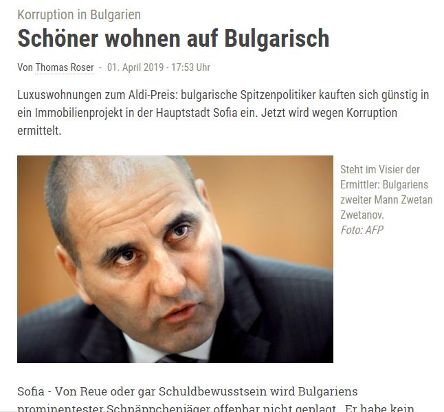 Цветанов като олицетворение на корупцията. И това се пише в Германия, откъдето е люпилнята на ГЕРБ.
