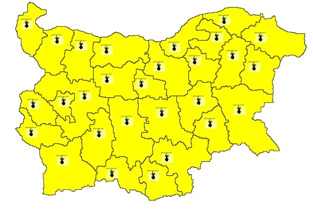 Aларма! Жълт код за опасно високи температури е обявен за 21 области на страната